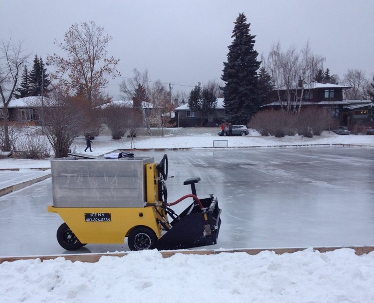 Calgary man invents mini ice resurfacer for backyard ...